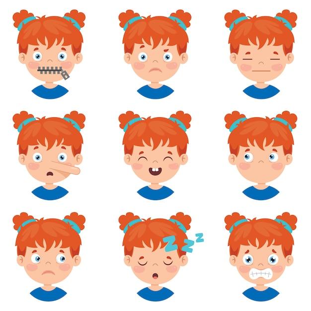 Zestaw Różnych Wyrażeń Dzieci Premium Wektorów