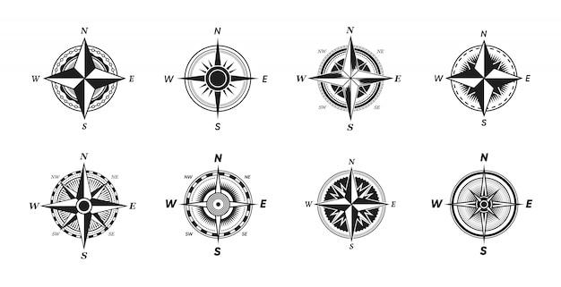 Zestaw Różnych Zabytkowych Kompasów Morskich Darmowych Wektorów