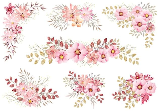 Zestaw Różowych Akwareli Kwiatowych Elementów Na Białym Darmowych Wektorów