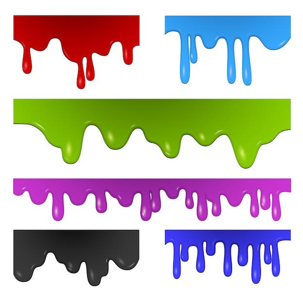 Zestaw Rozprysków Farby Darmowych Wektorów