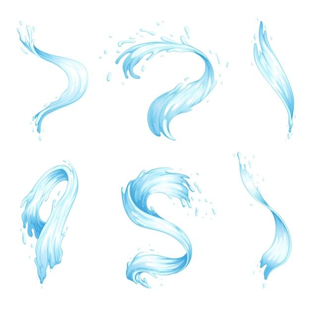 Zestaw Rozprysków Wody I Fal. Niebieskie Strumienie Wody O Różnych Kształtach. Premium Wektorów