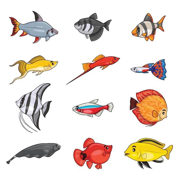 Zestaw ryb akwariowych słodkowodnych kreskówek. Premium Wektorów