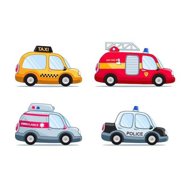 Zestaw samochodów w stylu kreskówki, w tym samochód strażacki, samochód policyjny, taksówka i karetka Premium Wektorów