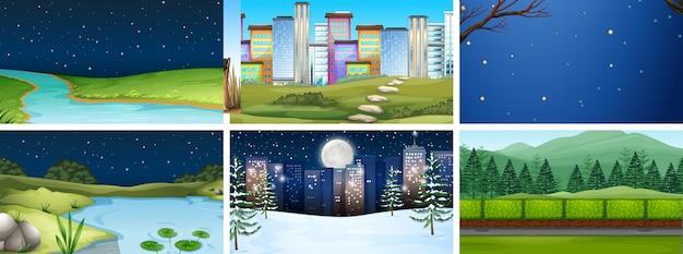 Zestaw scen dzień i noc natury i miasta lub tła Darmowych Wektorów