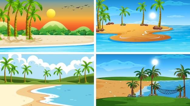 Zestaw scen przyrody tropikalnych oceanów z plażami Darmowych Wektorów