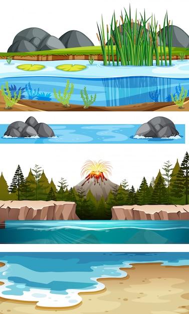 Zestaw scen wodnych Darmowych Wektorów