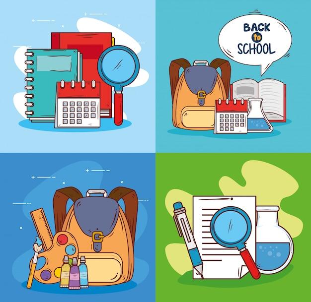Zestaw Scen Z Edukacją Dostawczą Premium Wektorów