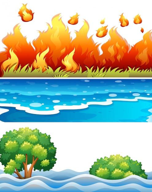 Zestaw sceny katastrofy naturalnej Darmowych Wektorów