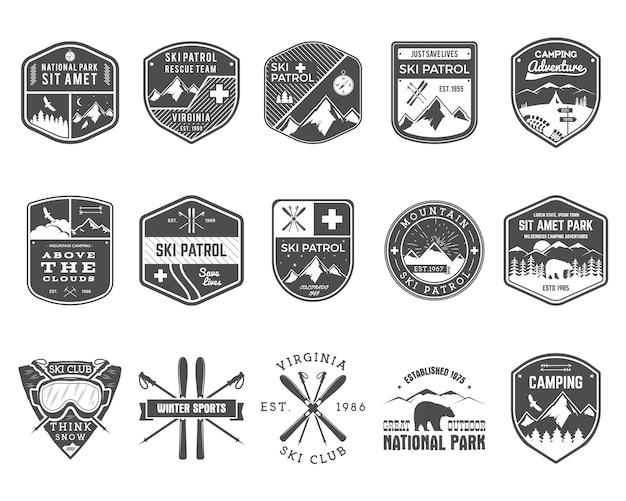 Zestaw Ski Club, Patrol Labels. Premium Wektorów