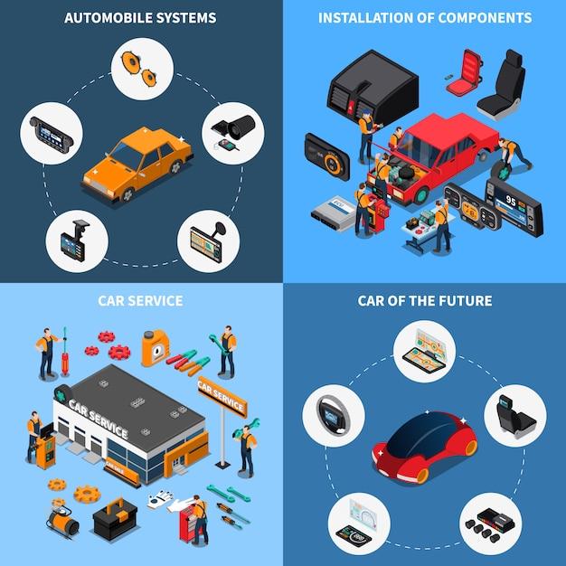 Zestaw Składowy Elektroniki Samochodowej Darmowych Wektorów
