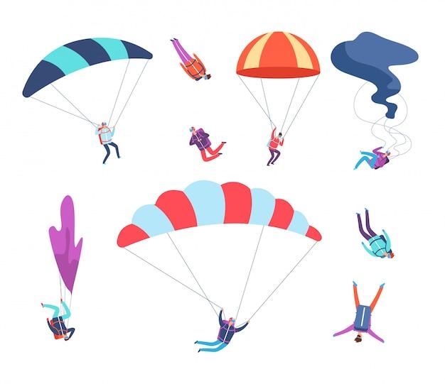 Zestaw Skoczków. Ludzie Skaczący Ze Spadochronami. Niebezpieczne Sportowe Niebo Skoczków, Spadochroniarzy Postaci Z Kreskówek Wektor Premium Wektorów