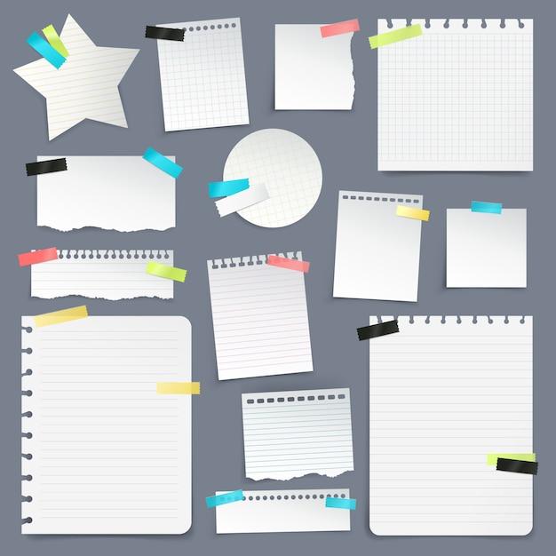 Zestaw skrawków papieru i czystych arkuszy Darmowych Wektorów
