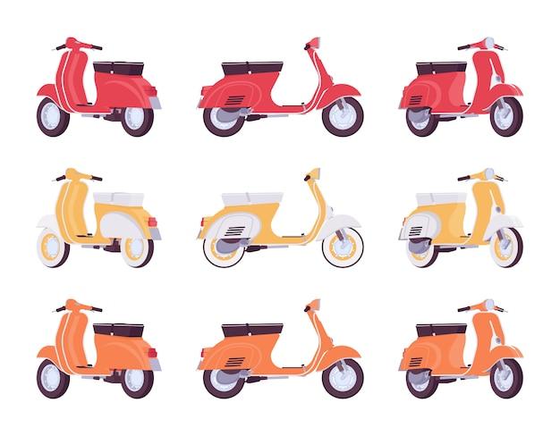 Zestaw skuterów w kolorach czerwonym, żółtym, pomarańczowym Premium Wektorów