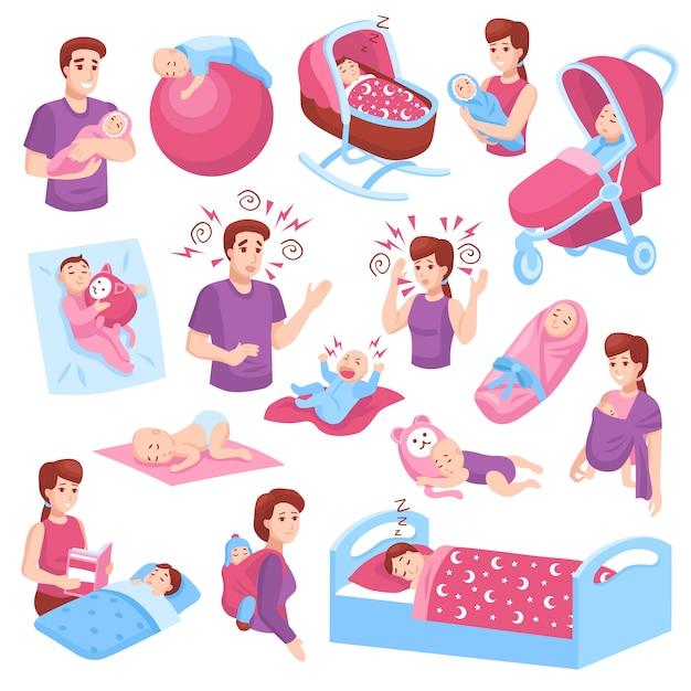 Zestaw Sleeping Babies Darmowych Wektorów