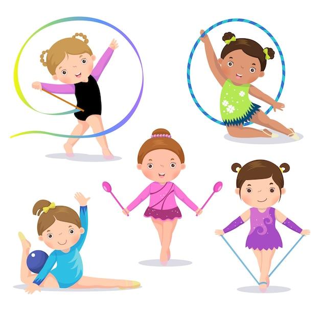 Zestaw ślicznych Dziewczyn Gimnastyka Artystyczna Premium Wektorów