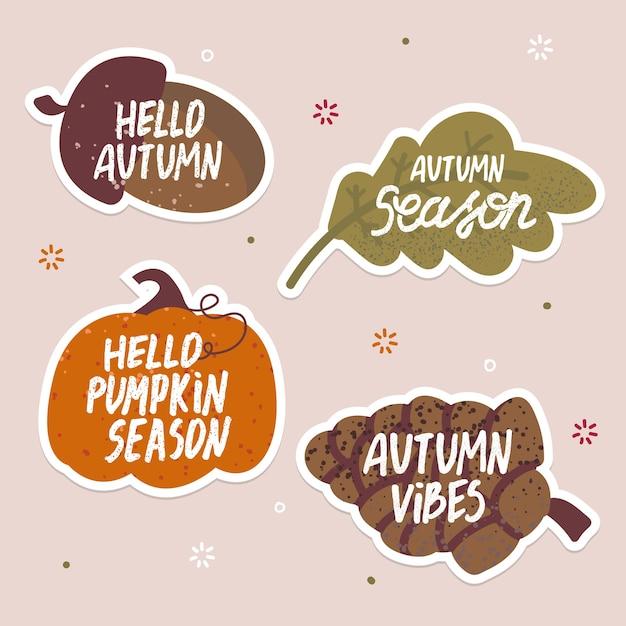 Zestaw ślicznych Jesiennych Naklejek Z żołędziem, Stożkiem, Dynią, Liściem Dębu Odręcznie Napisanym Tekstem. Premium Wektorów