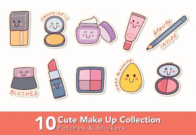 Zestaw ślicznych łatek Do Makijażu I Naklejki Premium Wektorów