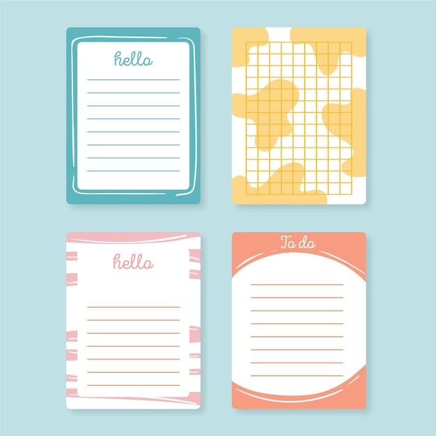 Zestaw ślicznych Notatek I Kart Darmowych Wektorów