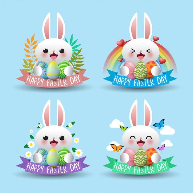 Zestaw ślicznych Pisanek I Projektowania Wyrażenia Easter Bunny Premium Wektorów