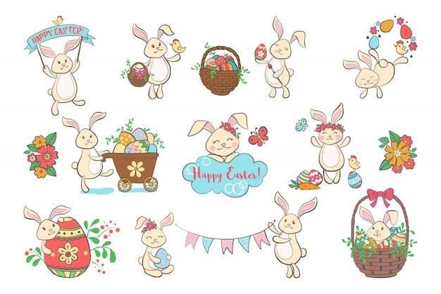 Zestaw Słodkie Króliczki Wielkanocne. Premium Wektorów