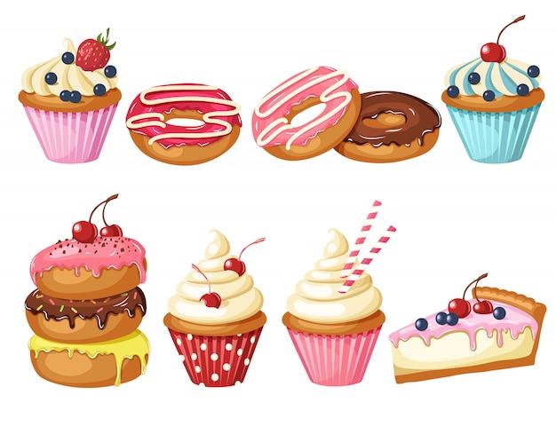 Zestaw słodkiej piekarni na białym tle. przeszklone pączki, sernik i babeczki Premium Wektorów