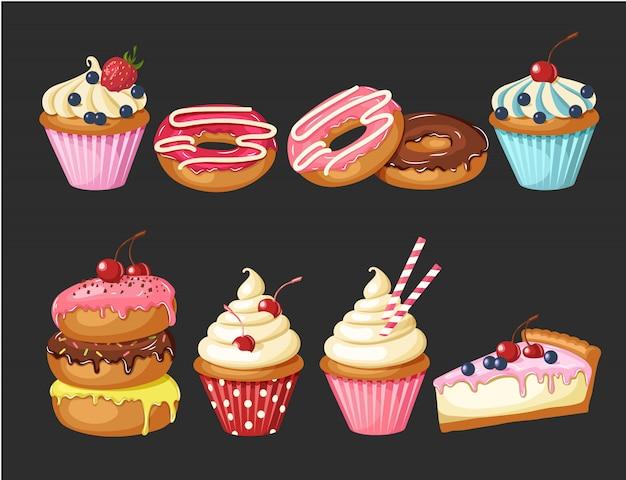 Zestaw słodkiej piekarni na czarno. przeszklone pączki, sernik i babeczki z wiśniami, truskawkami i jagodami. Premium Wektorów