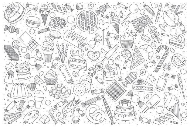 Zestaw Słodyczy Doodle Premium Wektorów