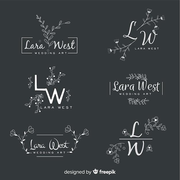 Zestaw ślubnych logo kwiaciarni Darmowych Wektorów