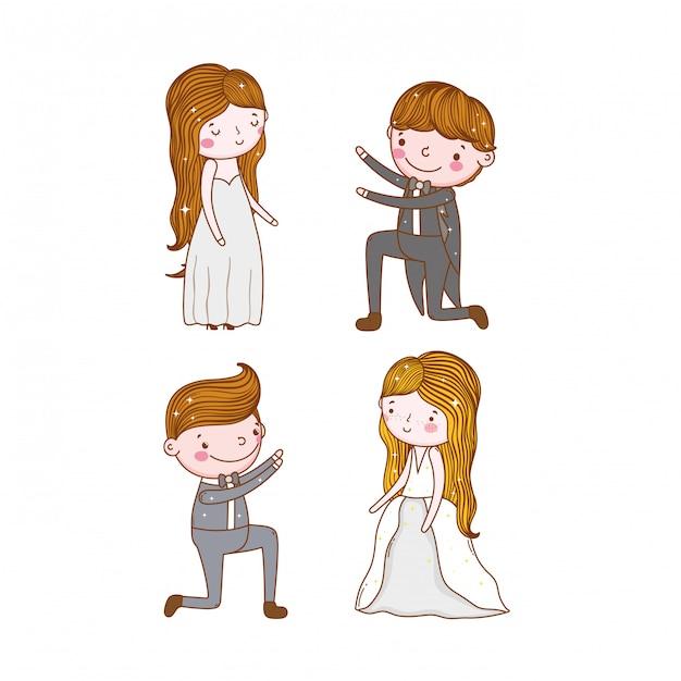 Zestaw ślubu mężczyzna i kobieta z suknia i garnitur Premium Wektorów