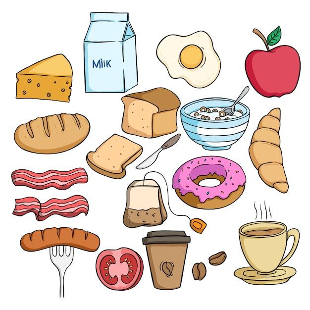 Zestaw smaczne jedzenie śniadanie z kolorowym stylu doodle na białym tle Premium Wektorów