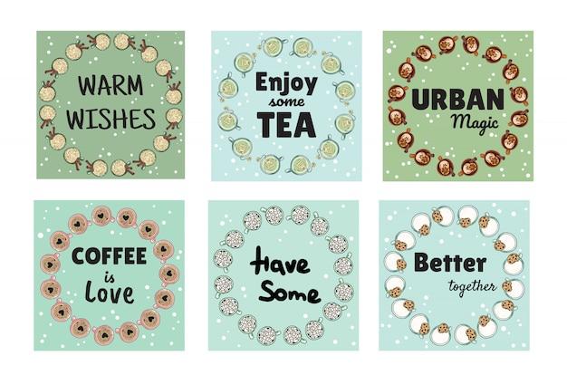 Zestaw Smacznych Przytulnych Banerów Z Filiżankami Kawy I Herbaty Premium Wektorów