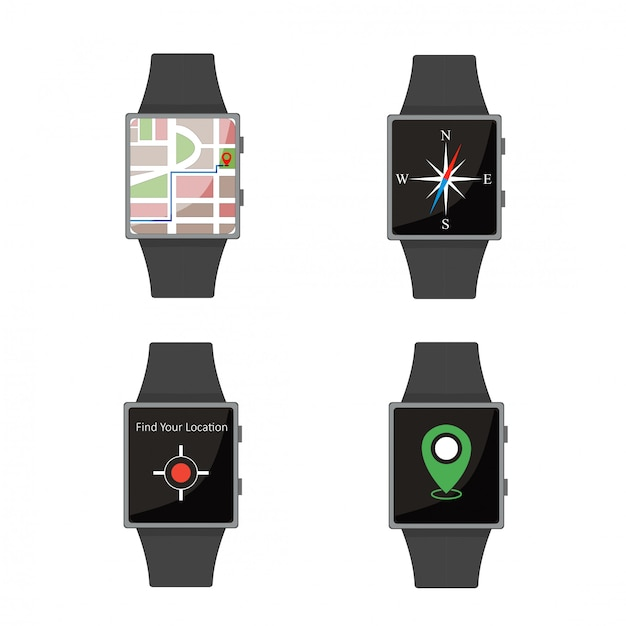 Zestaw Smart Watch. Styl Kreskówki. Płaskie Elementy. Premium Wektorów