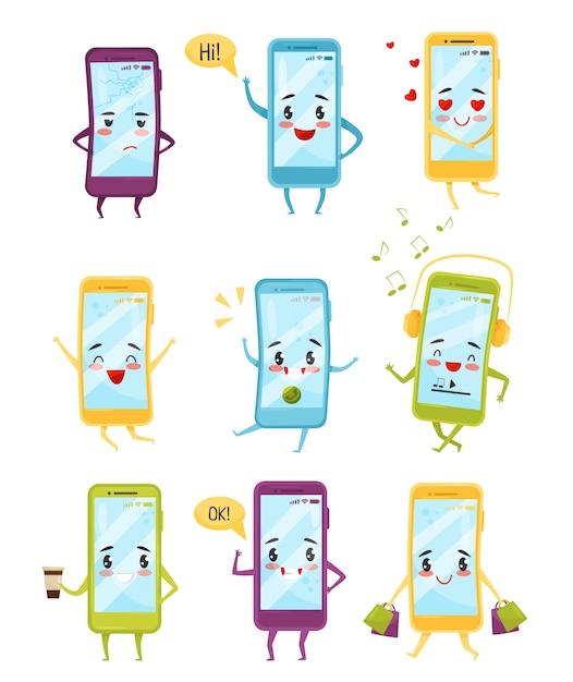 Zestaw Smartfonów Z Różnymi Emocjami. Postaci Z Kreskówek Z Twarzami Kawaii. Nowoczesna Technologia Premium Wektorów