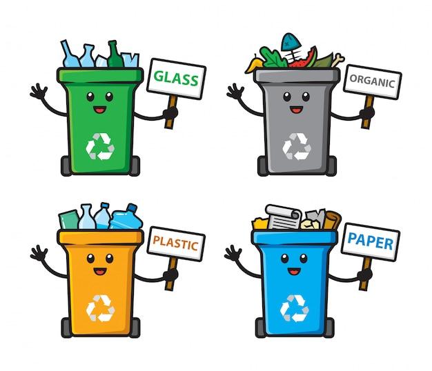 Zestaw śmieci Można Zaprojektować Postać Premium Wektorów