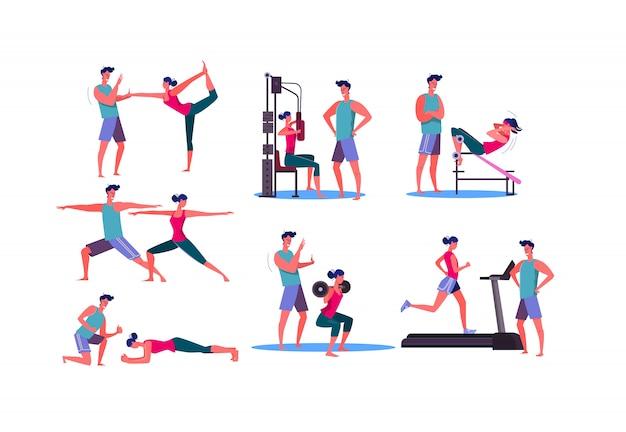 Zestaw Sportowy Kobieta Treningu W Siłowni Darmowych Wektorów