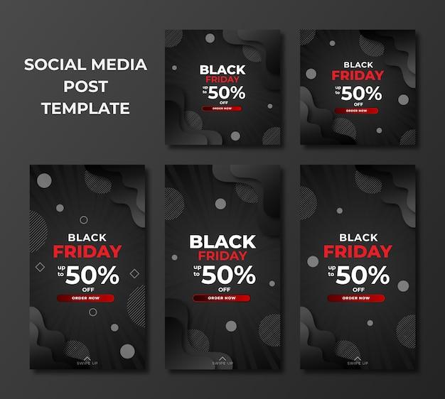 Zestaw Sprzedaży W Czarny Piątek W Nowoczesnym Szablonie Dla Postów W Mediach Społecznościowych Premium Wektorów