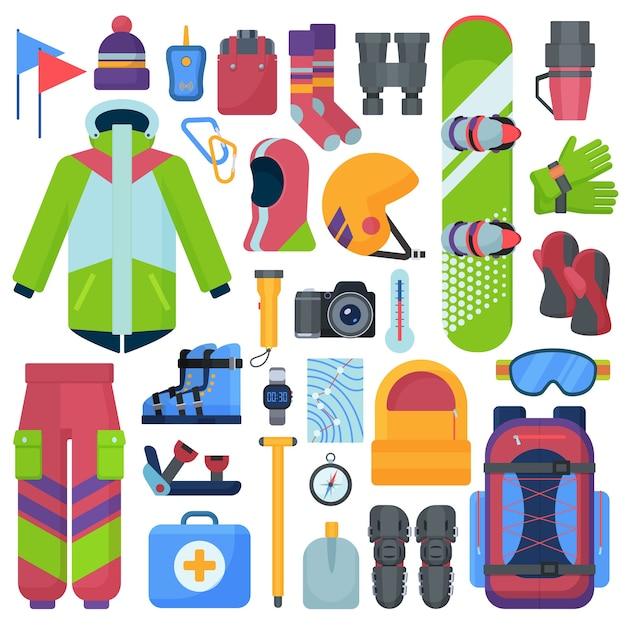 Zestaw Sprzętu Do Snowboardu Górskiego. Premium Wektorów