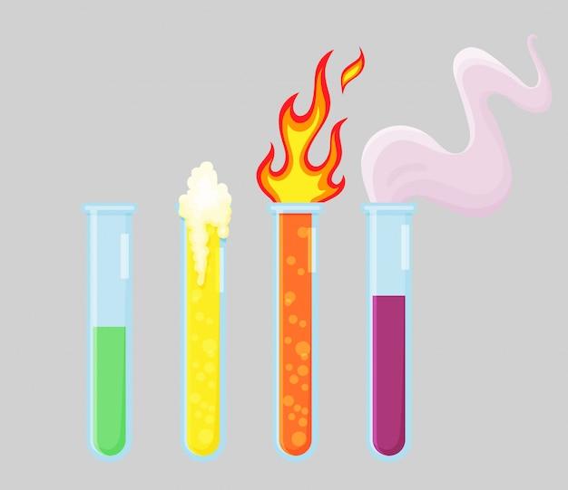 Zestaw Sprzętu Laboratoryjnego Eksperymentu Chemicznego. Zlewki Z Ogniem I Dymem. Elementy Kolekcji Do Laboratorium Badań Chemicznych Premium Wektorów