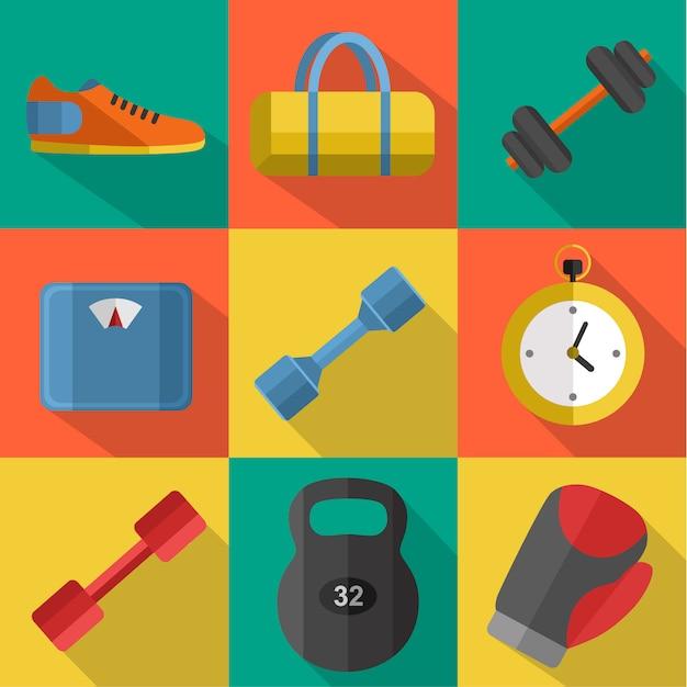 Zestaw Sprzętu Sportowego Do ćwiczeń Premium Wektorów