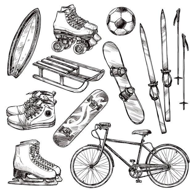 Zestaw sprzętu sportowego Darmowych Wektorów