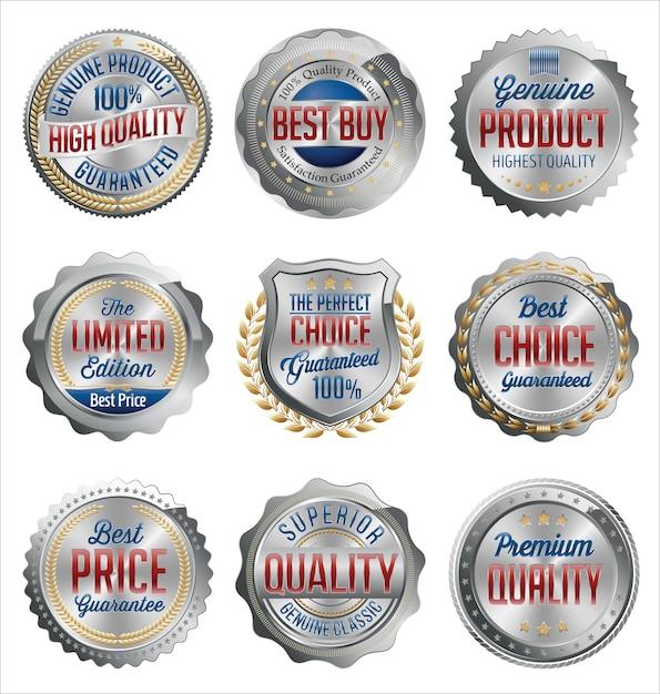 Zestaw Srebrnych Odznak Detalicznych Premium Wektorów
