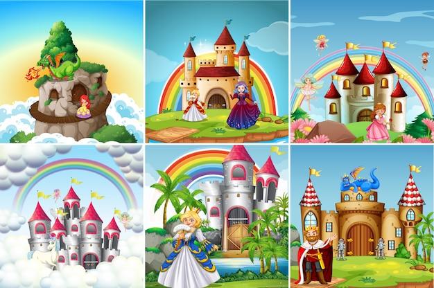 Zestaw średniowiecznego zamku Premium Wektorów