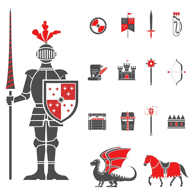 Zestaw średniowiecznych rycerzy czarne czerwone ikony Darmowych Wektorów