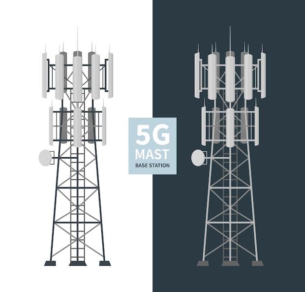 Zestaw Stacji Bazowych Masztowych 5g, Mobilne Wieże Danych, Anteny Telekomunikacyjne Premium Wektorów