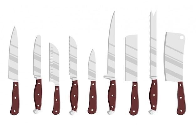 Zestaw Stalowych Noży Kuchennych. Zestaw Noży Do Rysowania Szefów Kuchni, Narzędzia Do Noży Rzeźniczych Premium Wektorów