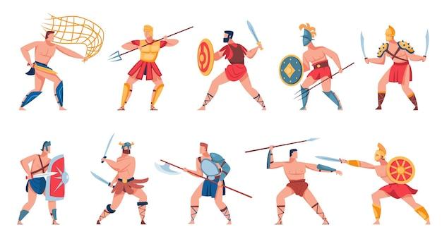 Zestaw Starożytnych Rzymskich żołnierzy. Płaska Ilustracja Darmowych Wektorów