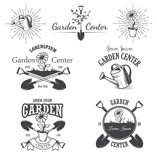 Zestaw Starych Emblematów Ogrodniczych, Etykiet, Odznaki, Logo I Zaprojektowane Elementy. Styl Monochromatyczny Darmowych Wektorów