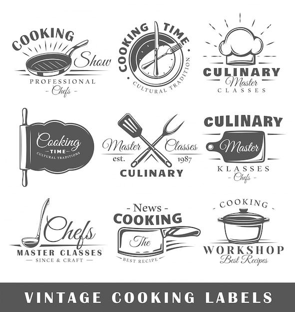 Zestaw Starych Etykiet Gotowania Premium Wektorów