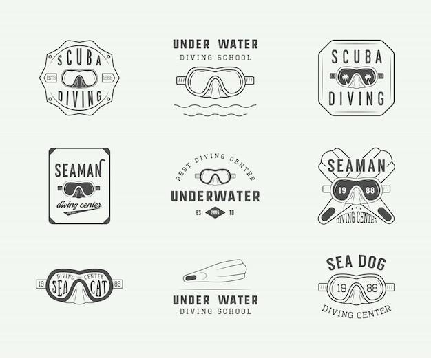 Zestaw starych logo nurkowania z akwalungiem Premium Wektorów