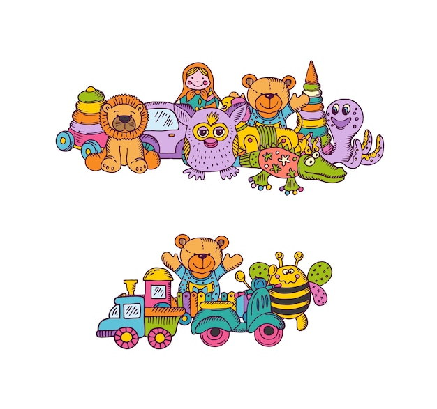 Zestaw Stosów Zabawek Duże Dziecko Ręcznie Rysowane I Kolorowe Na Białym Tle. Ilustracja Dziecko Zabawka Do Zabawy, Niedźwiedź Szkic Dłoni I Piramidy Premium Wektorów
